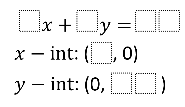 Intercept Form Equations Open Middle